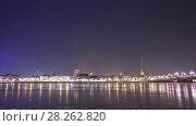 Купить «Night Riga city winter timelapse, lights, bridge, Daugava river», видеоролик № 28262820, снято 28 ноября 2017 г. (c) Aleksejs Bergmanis / Фотобанк Лори