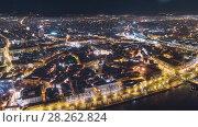 Купить «Night Riga city winter DRONE timelapse, lights, bridge, Daugava river», видеоролик № 28262824, снято 1 декабря 2017 г. (c) Aleksejs Bergmanis / Фотобанк Лори
