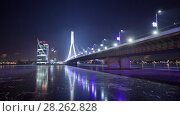 Купить «Night Riga city winter timelapse, lights, bridge, Daugava river», видеоролик № 28262828, снято 1 декабря 2017 г. (c) Aleksejs Bergmanis / Фотобанк Лори