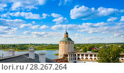 Купить «Fortress tower and wall of Kirillo-Belozersky monastery near City Kirillov, Vologda region, Russia», фото № 28267264, снято 13 августа 2016 г. (c) Papoyan Irina / Фотобанк Лори