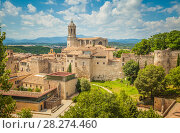 Купить «Cathedral in Girona, Catalunya. Spain. Beautiful cityscape of Girona on a bright summer day.», фото № 28274460, снято 15 октября 2018 г. (c) Сергей Цепек / Фотобанк Лори