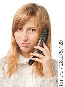 Купить «Девушка говорит по телефону-раскладушке», эксклюзивное фото № 28275120, снято 12 сентября 2010 г. (c) Давид Мзареулян / Фотобанк Лори