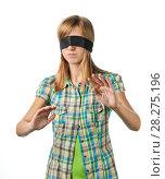 Купить «Молодая девушка с завязанными глазами не видит куда она двигается», эксклюзивное фото № 28275196, снято 12 сентября 2010 г. (c) Давид Мзареулян / Фотобанк Лори