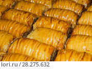 Background - oriental sweets, baklava in the form of rolls lies in rows in a continuous layer. Стоковое фото, фотограф Евгений Харитонов / Фотобанк Лори