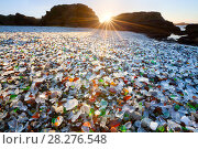 Купить «Glass beach at sunset - a former dump site, in which the glass has now become pebbles of sea glass.  MacKerricher State Park. California. USA. January 2013», фото № 28276548, снято 21 мая 2018 г. (c) Nature Picture Library / Фотобанк Лори
