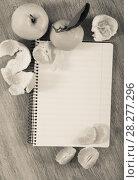 Купить «Empty notebook pages and tangerines», фото № 28277296, снято 25 апреля 2018 г. (c) Яков Филимонов / Фотобанк Лори