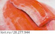 seafood or fish on ice. Стоковое видео, видеограф Syda Productions / Фотобанк Лори