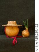 Купить «Натюрморт с тыквой, шляпой и проросшим луком», фото № 28280432, снято 9 апреля 2018 г. (c) V.Ivantsov / Фотобанк Лори