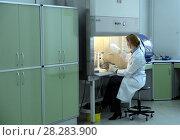 Купить «Биолог-эксперт в лаборатории ДНК-исследований экспертно-криминалистического центра московской полиции», фото № 28283900, снято 25 марта 2016 г. (c) Free Wind / Фотобанк Лори