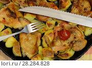 Купить «Зубчатый нож и вилка лежат на блюде,состоящем из жареной курятины с картофелем», фото № 28284828, снято 28 января 2020 г. (c) Игорь Кутателадзе / Фотобанк Лори