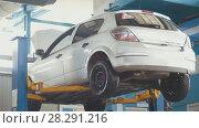 Купить «Car in auto service lifting for repairing, mechanics in garage», фото № 28291216, снято 25 апреля 2018 г. (c) Константин Шишкин / Фотобанк Лори
