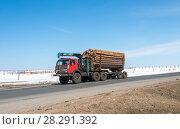 Купить «Лесовоз с установленным гидравлическим манипулятором», фото № 28291392, снято 25 марта 2017 г. (c) Геннадий Соловьев / Фотобанк Лори