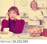 Upset mature woman after discord with female friend. Стоковое фото, фотограф Яков Филимонов / Фотобанк Лори