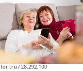 Купить «Two senior women with phones on sofa», фото № 28292100, снято 22 ноября 2017 г. (c) Яков Филимонов / Фотобанк Лори