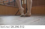 Купить «Ballet dancer's feet in scenic shoes training in studio», видеоролик № 28296512, снято 20 ноября 2019 г. (c) Константин Шишкин / Фотобанк Лори