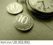 Купить «Время – деньги. Монеты и часы.», фото № 28302892, снято 3 апреля 2018 г. (c) ViktoriiaMur / Фотобанк Лори