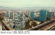 Купить «Panoramic view of modern areas in coastal zone of Barcelona», видеоролик № 28303272, снято 6 марта 2018 г. (c) Яков Филимонов / Фотобанк Лори