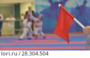Купить «Red flag in front of teenager girls fighting at the karate tournament», фото № 28304504, снято 22 мая 2019 г. (c) Константин Шишкин / Фотобанк Лори