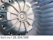 Купить «Motor and Blades of the impeller of an industrial fan. Close-up.», фото № 28304588, снято 2 марта 2017 г. (c) Андрей Радченко / Фотобанк Лори