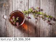 Купить «tea with thyme on old wooden background», фото № 28306304, снято 5 июля 2016 г. (c) Майя Крученкова / Фотобанк Лори