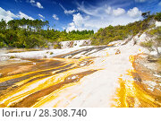 Купить «Colourful silica terrace formed by hot water algae growing in the geothermal area of Orakei Korako (The Hidden Valley), Northern Island, New Zealand», фото № 28308740, снято 26 мая 2019 г. (c) BE&W Photo / Фотобанк Лори