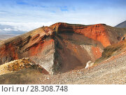 "Купить «View from the edge of the ""Red Crater"" on the Tongariro Alpine Crossing, New Zealand», фото № 28308748, снято 21 февраля 2020 г. (c) BE&W Photo / Фотобанк Лори"