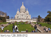 Купить «Basilique du Sacre Coeur (Basilica Sacre Coeur) on Montmartre in Paris, France», фото № 28309012, снято 20 августа 2019 г. (c) BE&W Photo / Фотобанк Лори