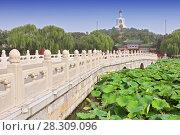 Купить «View of Jade Island with White Pagoda in Beihai Park - Beijing, China», фото № 28309096, снято 24 мая 2018 г. (c) BE&W Photo / Фотобанк Лори