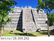Купить «The Osario pyramid, Chichen Itza archeological site, Yucatan, Mexico», фото № 28309292, снято 11 декабря 2018 г. (c) BE&W Photo / Фотобанк Лори
