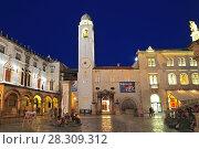 Купить «The Bell Tower on the Stradum at dusk Dubrovnik Croatia», фото № 28309312, снято 18 декабря 2018 г. (c) BE&W Photo / Фотобанк Лори