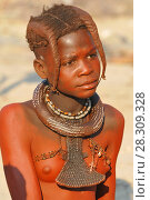 Купить «Young Himba girl with the typical necklace and double plait hairstyle, Omuramba, Kaokoland, Kunene, Namibia», фото № 28309328, снято 26 мая 2019 г. (c) BE&W Photo / Фотобанк Лори