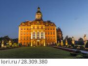 Купить «Majestic Baroque Ksiaz Castle at twilight, Hochbergs residence, Lower Silesia, Poland, Europe», фото № 28309380, снято 23 октября 2018 г. (c) BE&W Photo / Фотобанк Лори