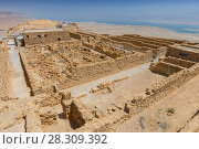 Купить «Ruins of the ancient Masada fortress in Israel», фото № 28309392, снято 16 декабря 2018 г. (c) BE&W Photo / Фотобанк Лори
