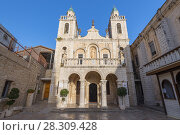 Купить «The Church at Cana in the Holy Land, built on the site of Jesus First Miracle, Israel», фото № 28309428, снято 22 апреля 2019 г. (c) BE&W Photo / Фотобанк Лори