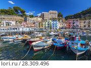 Small fishing boats at harbor Marina Grande in Sorrento, Campania, Amalfi Coast, Italy. Стоковое фото, агентство BE&W Photo / Фотобанк Лори