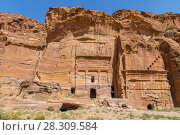 View of Silk Tomb in ancient Petra city in Jordan. Стоковое фото, агентство BE&W Photo / Фотобанк Лори