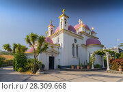 Купить «The Greek Orthodox Church of the Twelve Apostles in Capernaum by the Sea of Galilee, Lake Tiberias, Israel», фото № 28309668, снято 24 января 2019 г. (c) BE&W Photo / Фотобанк Лори