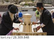 Купить «Jewish Orthodox men at Wailing Wall filling mug with drinking water, Jerusalem Israel», фото № 28309848, снято 18 августа 2019 г. (c) BE&W Photo / Фотобанк Лори