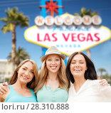 Купить «group of happy women or friends at las vegas», фото № 28310888, снято 4 июля 2013 г. (c) Syda Productions / Фотобанк Лори