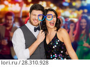 Купить «happy couple with party glasses having fun», фото № 28310928, снято 15 декабря 2017 г. (c) Syda Productions / Фотобанк Лори