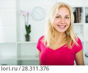 Купить «Portrait of cheerful blond girl», фото № 28311376, снято 20 июня 2019 г. (c) Яков Филимонов / Фотобанк Лори