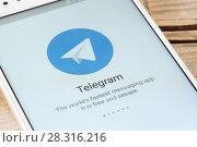 Купить «Telegram application on smartphone», фото № 28316216, снято 19 апреля 2018 г. (c) Александр Лычагин / Фотобанк Лори