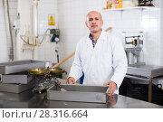 Купить «Adult male standing in production workshop», фото № 28316664, снято 22 апреля 2017 г. (c) Яков Филимонов / Фотобанк Лори