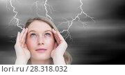 Купить «Lightning strikes and stressed woman with headache holding head», фото № 28318032, снято 18 июля 2018 г. (c) Wavebreak Media / Фотобанк Лори