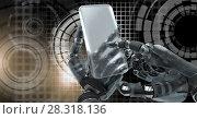 Купить «Robotic android hand using phone device and Glowing circle technology interface», фото № 28318136, снято 24 марта 2019 г. (c) Wavebreak Media / Фотобанк Лори