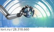 Купить «Robotic android hand holding earth and Glowing circle technology interface», фото № 28318660, снято 15 августа 2018 г. (c) Wavebreak Media / Фотобанк Лори
