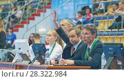 Купить «KAZAN, RUSSIA - APRIL 18, 2018: All-Russian gymnastics championship - Composition of judges», видеоролик № 28322984, снято 18 апреля 2018 г. (c) Константин Шишкин / Фотобанк Лори