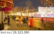 Купить «New Years celebration on Red Square in downtown rotation timelapse», видеоролик № 28323380, снято 17 января 2018 г. (c) Кирилл Трифонов / Фотобанк Лори
