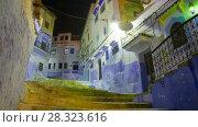 Купить «Chefchaouen night street rotation timelapse», видеоролик № 28323616, снято 19 марта 2018 г. (c) Кирилл Трифонов / Фотобанк Лори