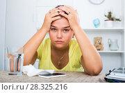 Купить «teenage girl waiting call», фото № 28325216, снято 25 марта 2019 г. (c) Яков Филимонов / Фотобанк Лори
